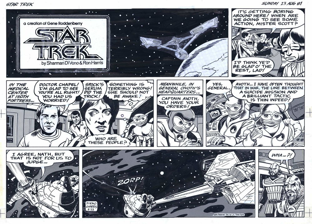 Comic in newspaper star strip war photos